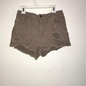 Khaki color cut off jean shorts